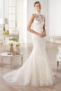pronovias bridal atelier 2014 yedira high neckline wedding dress