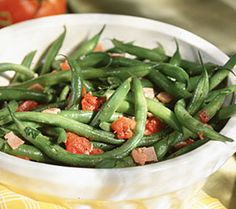 Seasoned Green Beans: fresh or frozen green beans, butter,  seasoned salt, chili pwd, garlic pwd, onion pwd, onion, real bacon pieces