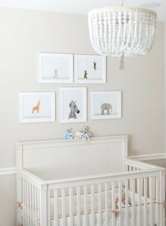 Sharon Montrose prints and a Ro Sham Beaux chandelier - love the simplicity!