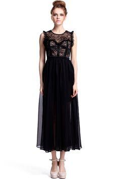 Dual-tone Black Maxi Dress #RomwePartyDress