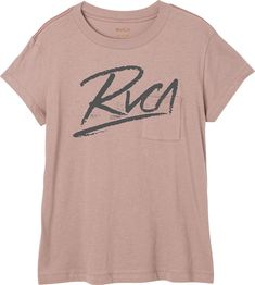 The RVCA Scribe T-Shirt is a relaxed fit, vintage wash short sleeve tee with a front screenprint logo graphic. It has a front pocket, contrast red stitc...