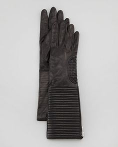 Zip-Gusset Long Leather Gloves, Black by Portolano at Neiman Marcus.