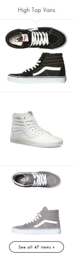 """""""High Top Vans"""" by claudcsilva ❤ liked on Polyvore featuring shoes, sneakers, vans, black, footwear, hi tops, womens footwear, black canvas sneakers, vans sneakers and vans shoes"""