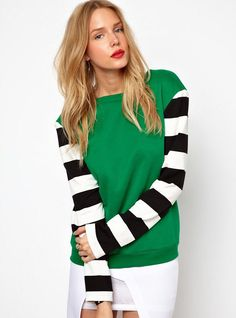Green Contrast Striped Long Sleeve Sweatshirt US$24.26
