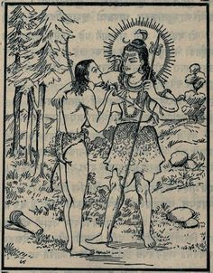 Arjuna receives the Pashupata from Shiva.
