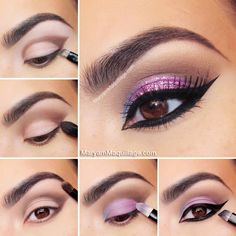 Exotic Glitter Cat Eye #purple #makeup