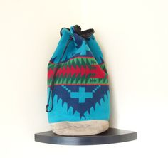 Vintage Large  Wool Pendleton Southwestern  Navajo Leather Backpack Bucket Bag Made in USA by TwoRosesVintage on Etsy