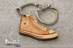 Laser cut and engraved Converse wood keyring. by TwikiConcept, $13.00