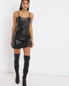 Faux Leather Skirt, Leather Dresses, Cute Casual Outfits, Sexy Outfits, Satin Dresses, Sexy Dresses, Vinyl Dress, Leder Outfits, Mini Slip Dress