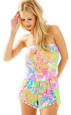 e7609738a9a The Daisy Romper is our newest strapless romper. With petal shorts and pom  pom trim. Lilly Pulitzer
