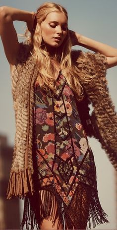 Fee spirit modern hippie fringe tunic with boho chic scarf vest. FOLLOW>> https://www.pinterest.com/happygolicky/the-best-boho-chic-fashion-bohemian-jewelry-gypsy-/ <<NOW for the BEST Bohemian fashion trends.