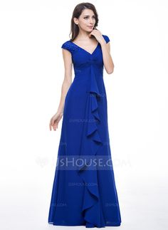 Trumpet/Mermaid V-neck Floor-Length Chiffon Evening Dress With Lace Cascading Ruffles (017056138)