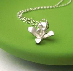 Silver Lily  Necklace by ZeldaWong on Etsy