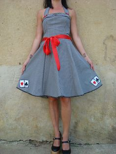 Rockabilly dress gingham Vegas casino cards -Etsy.