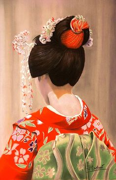 Dry pastel on pastelcard. Geisha Art by Independent Artists.