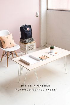 DIY SWENYO Skurniture Pink Washed Plywood Coffee Table tutorial | @fallfordiy