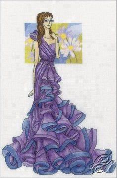 0 point de croix fille en robe de soirée violet - cross stitch girl in purple evening dress