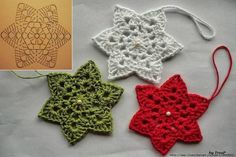 Set of 12 crochet stars Crochet Christmas star Handmade star Home decor Christmas tree star Crochet Snowflake Pattern, Crochet Coaster Pattern, Crochet Stars, Crochet Snowflakes, Crochet Motif, Crochet Flowers, Crochet Diy, Crochet Amigurumi, Thread Crochet