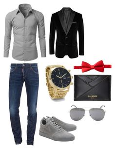 """""""First Date-ish"""" by kaybabync on Polyvore featuring Doublju, Dsquared2, Filling Pieces, BOSS Black, Michelsons, Balmain, Yves Saint Laurent, men's fashion and menswear"""
