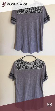 Short Sleeve Top loose fitted tee, leopard print neckline with stripes on the sleeves. PINK Victoria's Secret Tops Tees - Short Sleeve