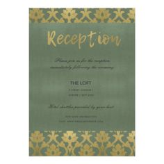 CLASSIC GOLD GREY DAMASK FLORAL PATTERN RECEPTION CARD - formal speacial diy personalize style template