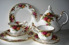 Royal Albert Old Country Roses tea set...truly beautiful!  Champagne tastes only for my tea.