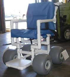 now i can go to the beach! Baby Diy Projects, Pvc Pipe Projects, Wood Projects, Powered Wheelchair, Disabled Shower Chair, Beach Cart, Mobiles, Adaptive Equipment, Cool Ideas