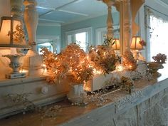 pretty mantel twinkle lights