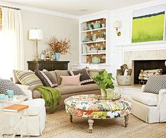 Pops of green add personality to this fun living room! http://www.bhg.com/decorating/lessons/expert-advice/furniture-arranging-mistakes-and-how-to-fix-them/?socsrc=bhgpin090814wallflowerfurniture&page=1