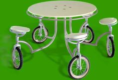 """""""Bikable"""" = table + bike. Perfect for OutDoor/Patio….hey, I could move this to mow under it!"""