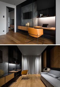 In this modern home office / guest room, there's a wall with a storage cabinet below the television, and beside it, a work area with upper storage cabinets and display shelves. - My Home Decor Hotel Room Design, Room Interior Design, Home Office Design, Home Office Decor, Modern House Design, Home Decor Bedroom, Office Ideas, Office Designs, Guest Room Decor
