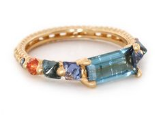 Blue Touramaline Tropical Ring 18Y side copy