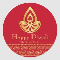Red and gold Diwali sticker with Indian pattern. Perfect as party favor stickers, gift tags, or envelope seals to your party invitations. Size: inch (sheet of Color: gold/red. Diwali Cards, Diwali Gifts, Happy Diwali, Diwali Celebration, Festival Celebration, Party Invitations, Party Favors, Diwali Festival Of Lights, Christmas Card Holders