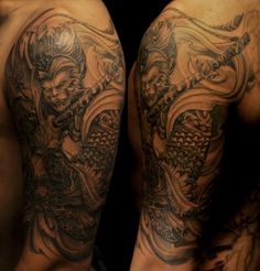Half sleeve black and grey Monkey King tattoo #cultural #tattoo #tattoos