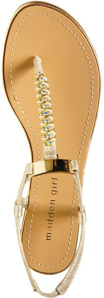 Zapatos de mujer - womens Shoes - Madden Girl Gold Mellowed Jeweled Thong Sandal