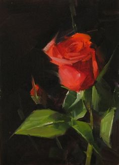 Red Rose Study 4, painting by artist Qiang Huang