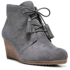 Dr. Scholl's Dakota Women's Wedge Ankle Boots ($70) ❤ liked on Polyvore featuring shoes, boots, ankle booties, dark grey, lace up wedge bootie, wedge ankle boots, wedge heel ankle boots, wedge booties and lace up booties