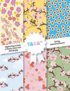 "Digital Scrapbook Paper, 6 files Digital Scrapbooking, 6 jpg files 12""x12"", Spring Japanese Flowers, DIY Craft Kit Digital Paper"