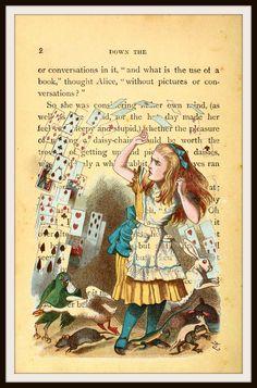 Alice in Wonderland Vintage Art Print with Original Book Page Background, 8.5 x 11