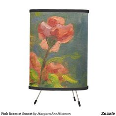 Pink Roses at Sunset Tripod Lamp by Margaret Ann Missman