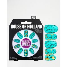 House Of Holland Nails By Elegant Touch - Majestic Marble ($14) ❤ liked on Polyvore featuring beauty products, nail care, nail treatments and blue