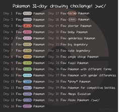 -Made myself a Pokemon drawing challenge for Inktober ideas! Feel free to .- Made myself a Pokemon drawing challenge for Inktober ideas! Feel free to try this out on any month you like when it has 31 days too owo/ – <br Pokemon Challenge, Art Journal Challenge, 30 Day Drawing Challenge, Art Style Challenge, Journal Ideas, Oc Challenge, Drawing Ideas List, Drawing Tips, Drawing Drawing