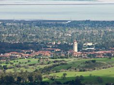 View of Stanford University campus with San Francisco Bay in background