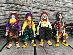 Vintage Ganz Ceramic Porcelain Hobo Figurines Shelf Sitting Clowns Set of 4 Clowns, Ronald Mcdonald, Shelf, Porcelain, Ceramics, Fictional Characters, Vintage, Ebay, Collection