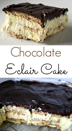 The EASIEST Eclair Cake - The perfect no-bake recipe! Chocolate Eclair Cake - An easy and delicous no bake dessert No Bake Desserts, Easy Desserts, Delicious Desserts, Dessert Recipes, Yummy Food, French Desserts, Baking Desserts, Cake Baking, Holiday Desserts