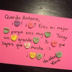 Candy love letters en español. Valentine's cards www.creativelanguageclass.com