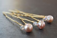 Pearl and crystal Flourish Hair Pins wedding bridal hair accessory wire wrapped Fashion. $16.00, via Etsy.