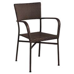 4 Stacking Armchairs in Mocha for Outdoor Living screen porch area.  For Jackson table, with patterned pillow seats