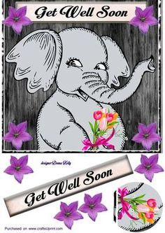 Elephant get well on Craftsuprint designed by Donna Kelly - cheerful get well card front Approx 7x7. Includes embelishments and a get well tag. - Now available for download!