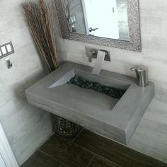 Trueform 30 ADA Floating Concrete Bathroom Sink Wood Edge designed for a restaurant, bar or hotel and meets requirements for thickness, set backs and clearances. Wharton, New Jersey.Concrete shown in the color Charcoal Floating Bathroom Sink, Ada Bathroom, Bathroom Sink Design, Kitchen Sink Design, Rustic Bathroom Vanities, Concrete Bathroom, Bathroom Interior Design, Small Bathroom, Handicap Bathroom